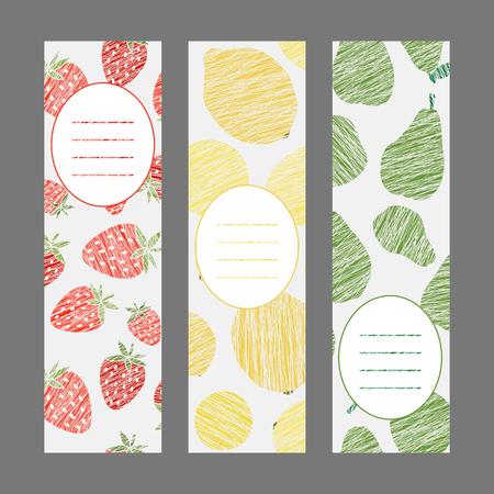 frutilla: Serie de las banderas saludable estilo de vida. Conjunto de volantes verticales. Rayado lim�n fresa y pera serie volante. Serie de tarjetas de cosecha de la fruta. Dise�o simple para la postal de invitaci�n o un cartel.