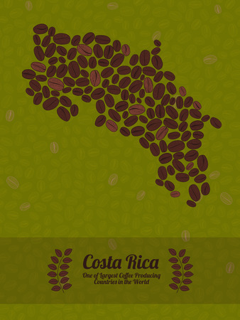 green coffee beans: Map of Costa Rica made out of coffee beans. Raw green coffee beans background. Coffee beans flyer or leaflet. Republic of Costa Rica map poster or card.