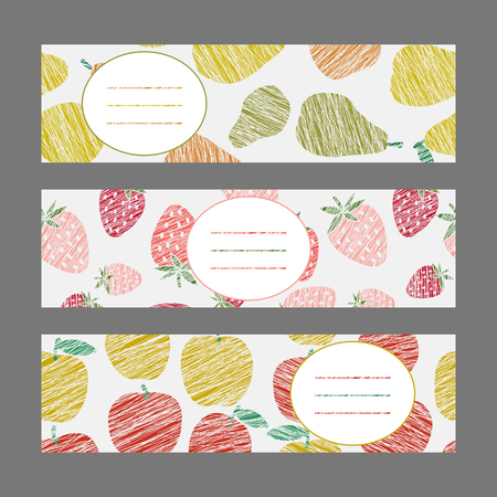 Set of Horizontal Fruit Banners. Harvest berry ornaments. Scratched pear strawberry and apple flyer series. Vector Illustration for print or leaflet. Simple design for invitation, postcard or poster.