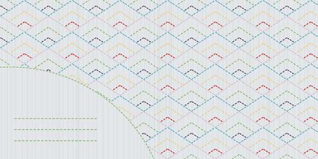 日本のキルティングのはがき。テキスト フレーム。伝統的な日本刺繍。抽象的な背景。コピーのテキストのための領域でシンプルな刺し子の飾り。