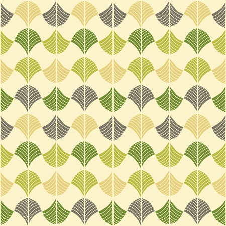 Abstract pattern based on a Traditional African Ornament. Bright green and brown. Seamless vector. Stylized papyrus leaves. Plain backdrop for decoration, wallpaper, web page background, surface textures.