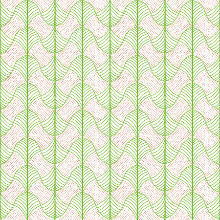 Abstract pattern based on a Traditional African Ornament. Bright green and orange. Seamless vector. Stylized papyrus leaves. Plain backdrop for decoration, wallpaper, web page background, surface textures. Pattern fills.