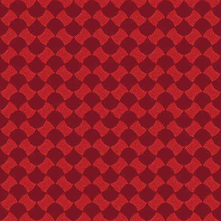 Abstract pattern based on a Traditional African Ornament. Warm colors. Seamless vector pattern. Red dotted background for decoration or backdrop. Simple pattern for wallpaper, web page background, surface textures. Pattern fills. For decoration or printin Ilustração