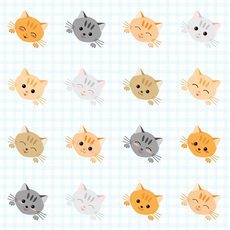 Seamless illustration with cute cats. Japanese manga style. Kawaii joyful cats. Kitten background. Endless texture. Plaid backdrop pattern. Animal vector pattern. Set of icons.