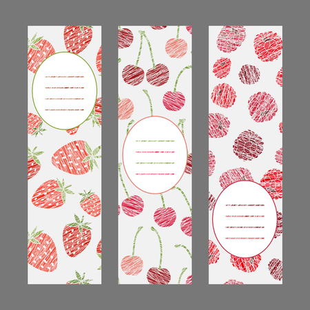 Set of Vertical Fruit Banners. Harvest berry ornaments. Scratched strawberry cherry and raspberry flyer series. Vector Illustration for print or leaflet. Healthy lifestyle Cards Series. Illusztráció
