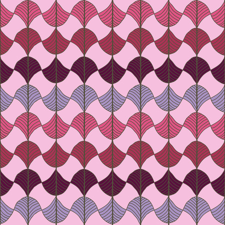 Abstract pattern based on a Traditional African Ornament. Warm pink, red and violet. Seamless vector. Stylized papyrus leaves. Plain backdrop for decoration, wallpaper, web page background, surface textures.