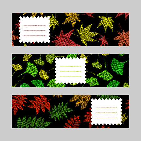 momiji: Set of horizontal autumn banners. Leaf ornaments. Scratched ginkgo, momiji and nanakamado flyers. Vector Illustration for banners. Maple, rowan and maidenhair leaves. Black background.