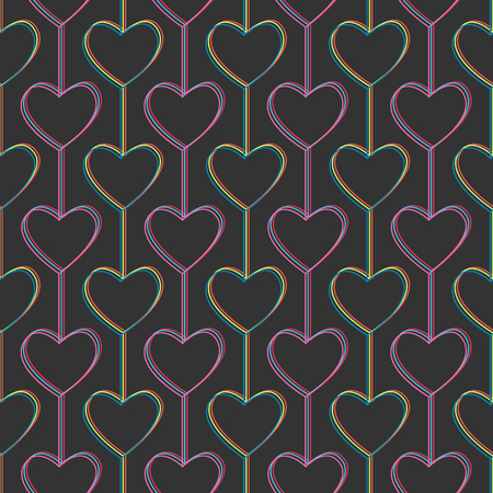 Hearts and lines. Seamless pattern. For Valentines Day. Geometric. Stylized texture with hearts and lines. Contrast colors. Abstract background. Illustration