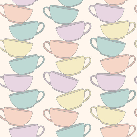crockery: Stack Of Cups. Vectical composition. Seamless pattern. Hand drawn Illustration. Pale background with coffee cups. Pastel colored crockery. Pattern fills. Lines of tea cups. Tableware texture.