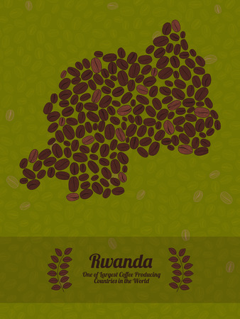 Map of Rwanda made out of coffee beans. Raw green coffee beans background. Coffee beans flyer or leaflet. Rwanda map poster or card. Vectores