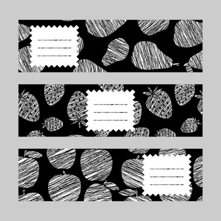 Healthy lifestyle banners series. Set of Horizontal flyers. Scratched pear strawberry and apple invitations series. Series of harvest fruit cards. Simple design for invitation voucher or card.