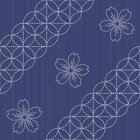 handiwork: Japanese Embroidery Ornament with circles and blooming sakura flowers. Sashiko pattern. Seamless. Old traditional handiwork. Stylized endless texture with circles on the dark blue background. Illustration