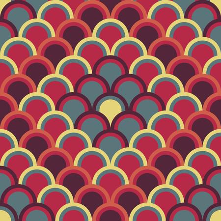 半円と抽象的な背景は。シームレス パターン。伝統的な日本刺繍飾り刺し子に基づいています。暖かいアジア モチーフは魚体重計です。