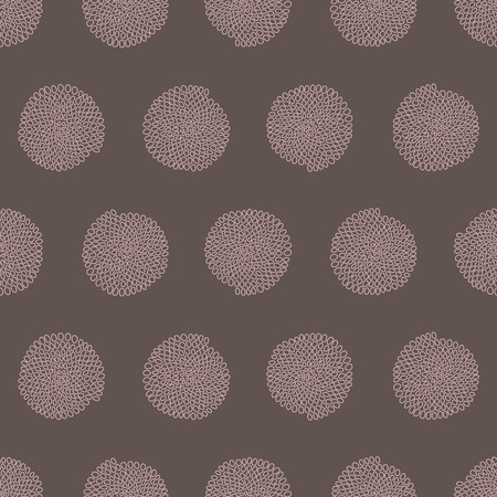 Stylized texture with arcs and circles. Seamless pattern. Pale colors. Hand drawn beads. Round elements. Colorful background for decoration or printing on fabric. Outline backdrop for pattern fills.