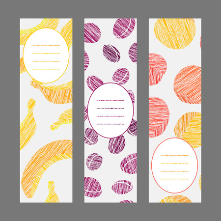 Series of harvest fruit banners. Set of Vertical flyers. Scratched banana plum and peach flyer series. Healthy lifestyle Cards Series. Simple design for invitation postcard or poster.