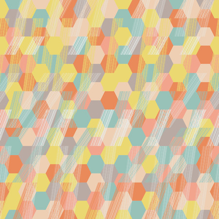 Seamless pattern for wallpaper, web page background, surface textures. Pixel hexagon. Rhomb. Brush strokes. Pattern fills. Abstract backdrop. Endless mosaic. Dark warm colors. Autumn template.