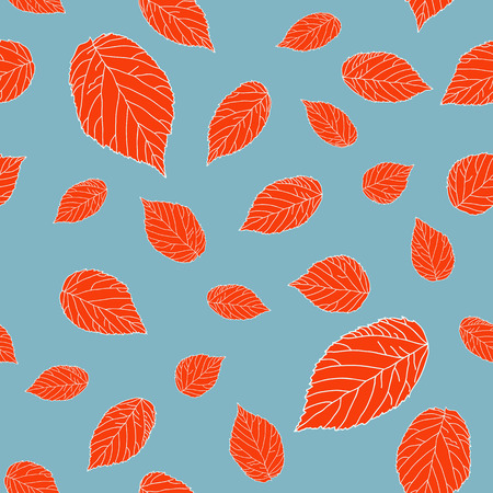 Contrast seamless pattern with red raspberry leaves on a grey field. Plain endless background with blackberry or raspberry leaves for decoration.