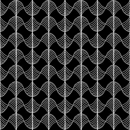Abstract pattern based on a Traditional African Ornament. Monochrome. Seamless pattern. Stylized papyrus leaves. Black and White backdrop for decoration, wallpaper, web page background, surface textures.