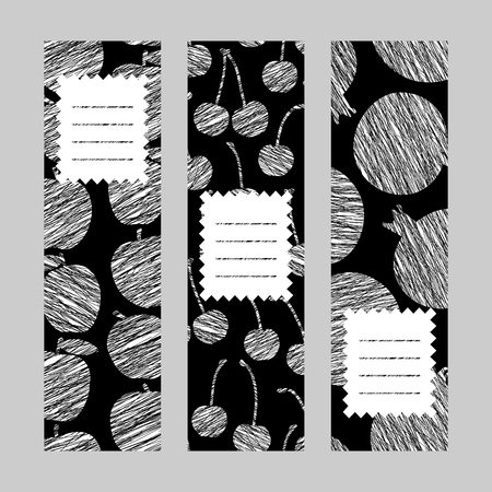 Series of harvest fruit banners. Set of Vertical flyers. Scratched apple cherry and pomegranate flyer series. Healthy lifestyle cards Series. Simple design for invitation voucher or card. Ilustração