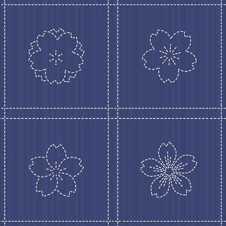 刺し子のモチーフ - 桜の花が咲きます。花の背景。針仕事のテクスチャです。桜の花が咲くと伝統的な日本刺繍飾り。シームレス パターン。