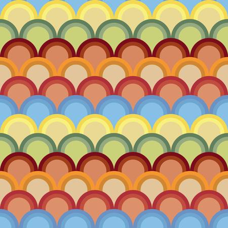 半円と抽象的な背景は。シームレス パターン。伝統的な日本刺繍飾り刺し子に基づいています。コントラストとアジアのモチーフは魚体重計です。