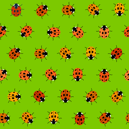 lady cow: Endless pattern with Ladybugs, kid background. Endless texture, insects background. Simple backdrop. Seamless vector. Plain backdrop for decoration, wallpaper, web page background, surface textures. Pattern fills. Illustration