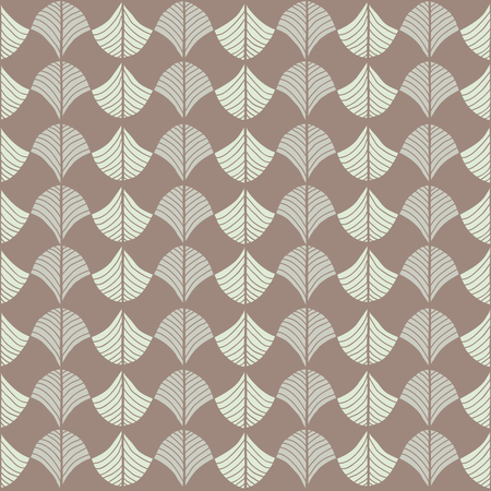 Abstract pattern based on a Traditional African Ornament. Warm brown colors. Seamless vector pattern. Stylized papyrus leaves. Brown background for decoration or backdrop. Simple pattern for wallpaper, web page background, surface textures. Pattern fills. Ilustração