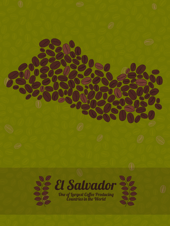 green coffee beans: Map of El Salvador made out of coffee beans. Raw green coffee beans background. Coffee beans flyer or leaflet. Republic of El Salvador map poster or card.
