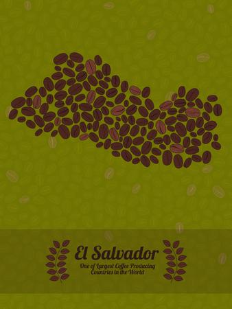 mapa de el salvador: Mapa de El Salvador hecha de granos de caf�. Fondo sin procesar de los granos de caf� verde. los granos de caf� folleto o prospecto. Rep�blica de El Salvador mapa cartel o tarjeta.