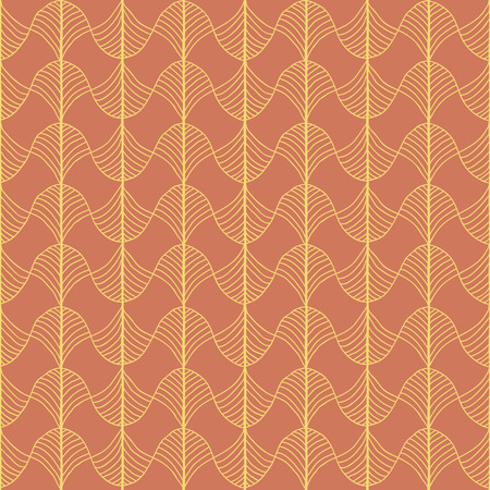 Abstract pattern based on a Traditional African Ornament. Warm orange colors. Seamless vector pattern. Stylized papyrus leaves. For decoration or backdrop. Simple pattern for wallpaper, web page background, surface textures. Pattern fills. For decoration  Ilustração