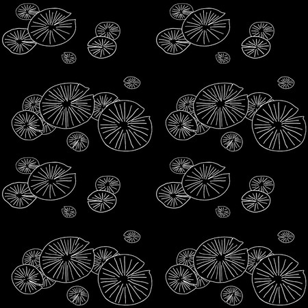 Black and White seamless pattern with round lily pads in the pond.