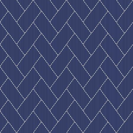 線や四角形で伝統的な日本刺繍飾り。ベクターのシームレスなパターン。日本の刺し子モチーフ - 檜垣 - サイプレスのフェンス。