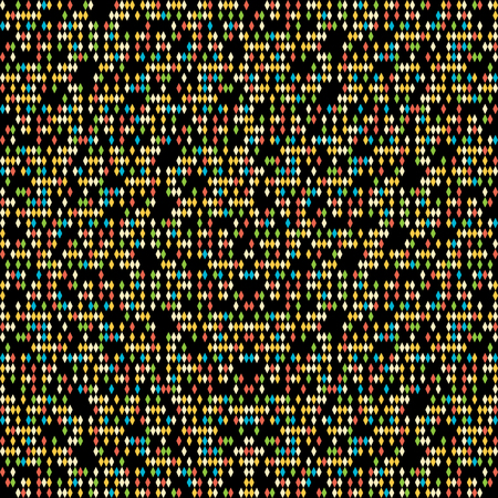 rhomb: Graphic rhomb pattern. Scattering of tiny beads. Black background. Noise texture for poster or flyer. Seamless. Variety of rhombuses in bright colors. Outline backdrop for decoration or pattern fills.
