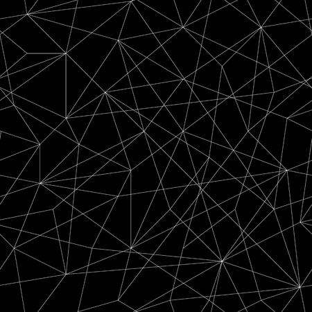 三角形の抽象的なモザイク パターン。シームレスなベクトル。白と黒の線で様式化されたテクスチャです。装飾や背景の白黒パズルの背景。不安定