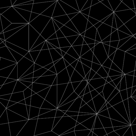 unstable: Abstract mosaic pattern with triangles. Seamless vector. Stylized texture with black and white lines. Monochrome puzzle background for decoration or backdrop. Unstable composition.