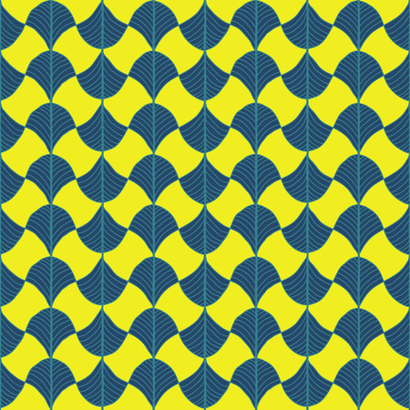 Abstract pattern based on a Traditional African Ornament. Contrast yellow and blue. Seamless vector. Stylized papyrus leaves. Plain backdrop for decoration, wallpaper, web page background, surface textures. Pattern fills.