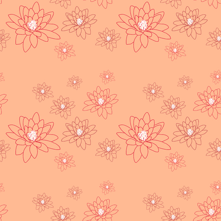 Pale seamless pattern with delicate magnolia flowers on a creamy-pink. Illustration