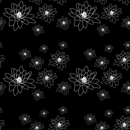 packing material: Black and white seamless pattern with magnolia flowers.