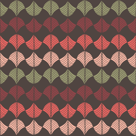 Abstract pattern based on a Traditional African Ornament. Warm pink, red and brown. Seamless vector. Stylized papyrus leaves. Plain backdrop for decoration, wallpaper, web page background, surface textures. Ilustração