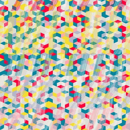 Seamless pattern for wallpaper, web page background, surface textures. Pixel hexagon. Rhomb. Brush strokes. Pattern fills. Abstract backdrop. Endless mosaic. Bright colors. Tropical template.