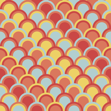 Abstract background with half circles. Seamless vector pattern. Based on traditional Japanese Embroidery Ornament Sashiko. Colorful Asian motif with fish Scales.