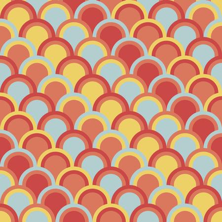 Resumen de fondo con círculos de la mitad. Patrón de vector transparente. Basado en japonés tradicional del bordado del ornamento Sashiko. adorno asiático colorido con escamas de pescado.