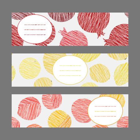 Healthy lifestyle banners series. Set of Horizontal flyers. Scratched plum banana and strawberry flyer series. Series of harvest fruit cards. Simple design for invitation postcard or poster.
