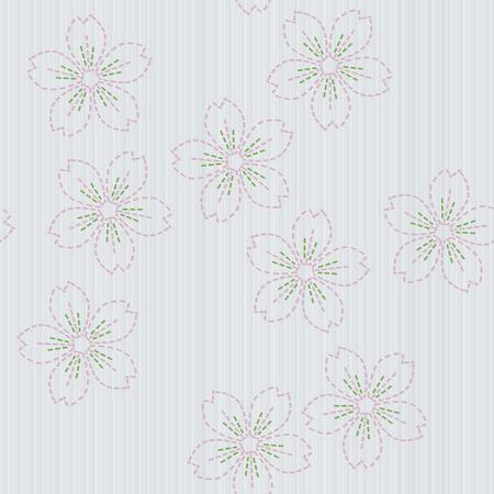 伝統的な日本刺繍。刺し子。春の背景。花の背景。針仕事のテクスチャです。パターンで埋めます。装飾または布で印刷。シームレス パターン。