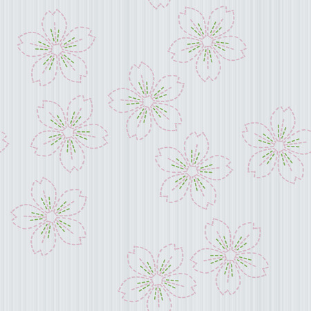 embroidery on fabric: Traditional japanese embroidery. Sashiko. Spring backdrop. Floral background. Needlework texture. Pattern fills. For decoration or printing on fabric. Seamless pattern. Illustration