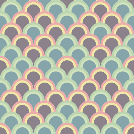 Abstract background with half circles. Seamless vector pattern. Based on traditional Japanese Embroidery Ornament Sashiko. Pale Asian motif with fish Scales.