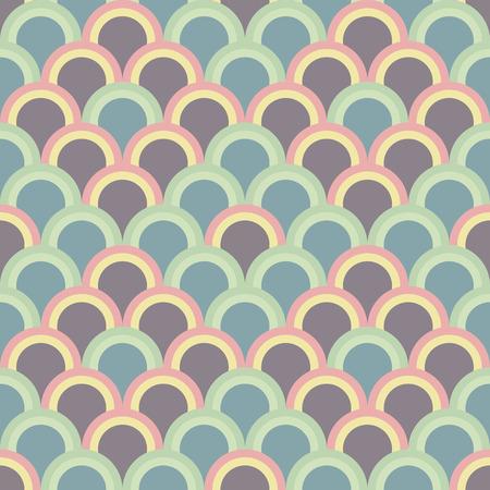 Resumen de fondo con círculos de la mitad. Patrón de vector transparente. Basado en japonés tradicional del bordado del ornamento Sashiko. adorno asiático pálido con escamas de pescado. Ilustración de vector
