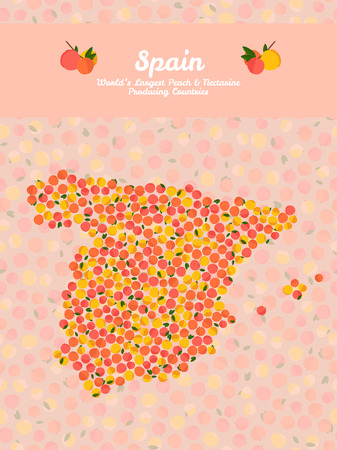 nectarine: Spain map poster or card. Vegetarian postcard. Map of China made out of pink nectarines. Series: Worlds Largest peach and nectarine Producing Countries. Can be used as seamless pattern.