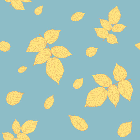 Abstract raspberry leaves. Clear pastel colors. Seamless pattern. Ilustração