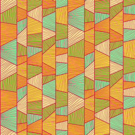 trapeze: Abstract mosaic  pattern with hand-drawn wavy elements. Stylized texture with colorful trapeziums. Tropical puzzle background for decoration or backdrop. Seamless vector.